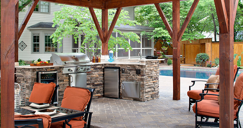 Outdoor kitchen and patio living space